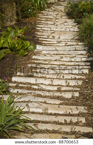 A garden pathway made up of cut logs with shrubs growing each side. Taken in vertical format