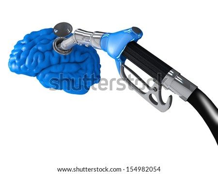 A gasoline pump inserted in a blue human brain - stock photo