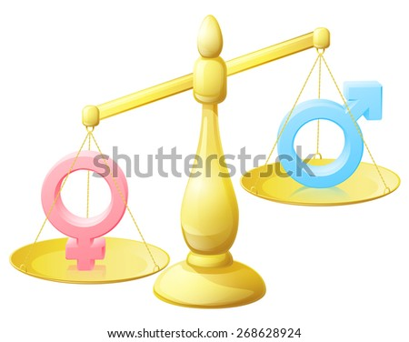 A gender equality scales conceptual illustration with male and female man and woman signs  - stock photo