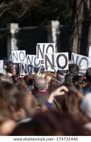 A general image of unidentified people protesting - stock photo