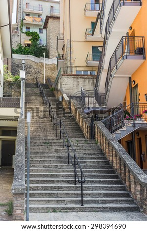 A general view of a street in the city center of San Marino - stock photo