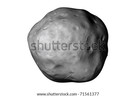 A generic asteroid on white. Realistic 3d render created by an astronomer.