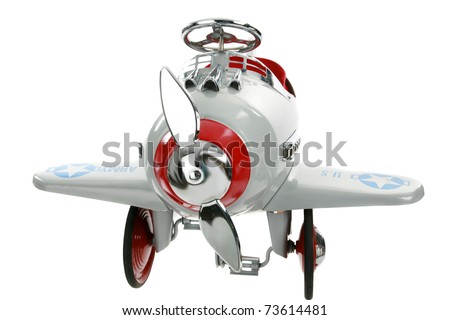 a generic pedal car airplane isolated on white with room for your text - stock photo