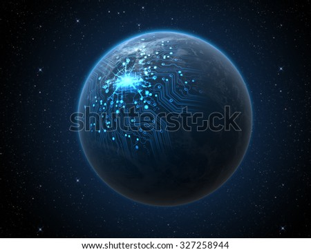 A generic world planet with illuminated city lights and a glowing data circuit network on a dark space background - stock photo