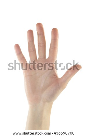 A gentle female hand is making number five sign with her right hand on isolated white background.