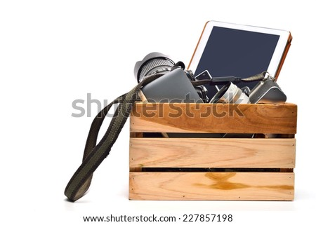 A Genuine Box of used items ready for a garage sale  - stock photo