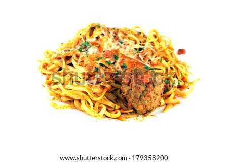 A genuine dish of Linguine and Meat Balls with Tomato Sauce. The perfect Italian dish for all your image needs. Linguini has been said to be the Food of the Gods in some circles is good for you. - stock photo