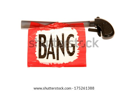 A Genuine Funny Trick Gun with the familiar BANG sign. Clowns and jokers have enjoyed these trick guns for years to make strangers, friends and family laugh and help to enjoy life. Isolated on white - stock photo