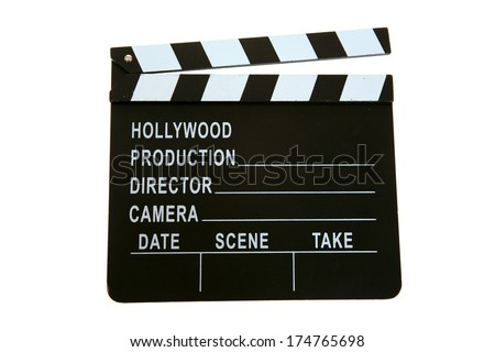 A Genuine Hollywood Movie Clapper Board. Isolated on white with room for your text. Clapper Boards are used to mark the beginning and ending of a movie scene with info like date, time, scene and more. - stock photo