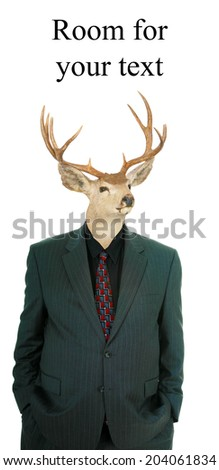 A genuine Party Animal. A Deer with a deer horns wears a human business suit, also known as a Stag or Stag Man represents Wild Times, Strength, Virility, Nature, Raw Animal Magnetism, and more.   - stock photo