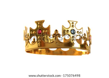 A Genuine Plastic Crown with Real Plastic Jewels made of Real Gold Plastic with an adjustable head band so it can fit on most head sizes. Isolated on white for all your Royal Crown Needs. - stock photo