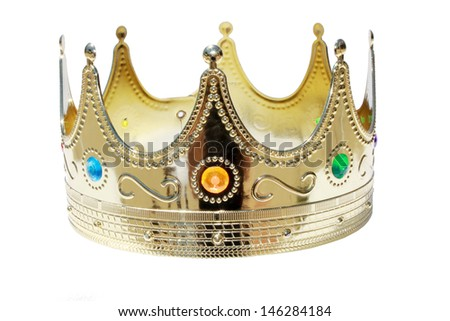 A Genuine Plastic King or Queen crown in Gold Plastic with Colorful Plastic Jewels isolated on white with room for your text. The perfect image for all your Royal Crown Needs. - stock photo