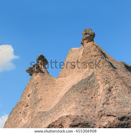 A geological formation consisting of volcanic tuff. Cappadocia in Central Anatolia is a UNESCO World Heritage Site since 1985, Turkey   - stock photo