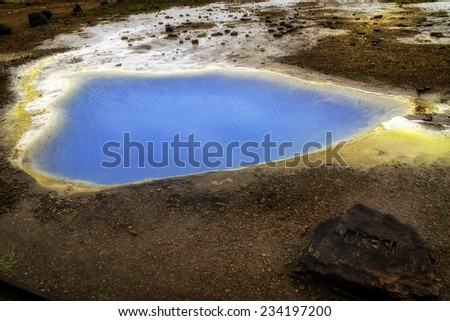 A geothermal pool near Geyser in Iceland - stock photo