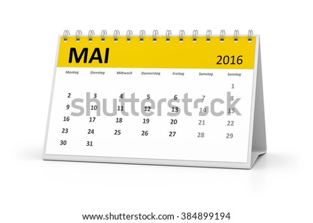 A german language table calendar for your events 2016 may - stock photo