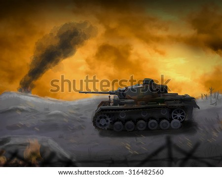 A German panzer tank crosses the battleground. (Computer Illustration) - stock photo