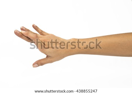 a gesturing good luck symbol fingers crossed human hand on white