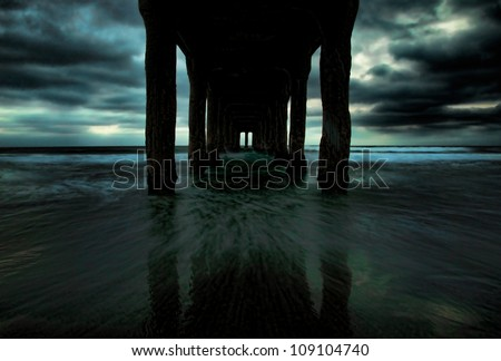 A ghostly version of the Manhattan Beach Pier in Los Angeles, California. - stock photo
