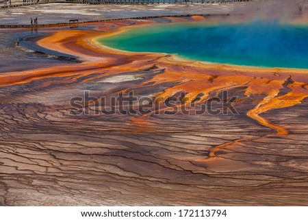 A giant hot spring named Grand Prismatic Spring in Yellowstone National Park, Wyoming - stock photo