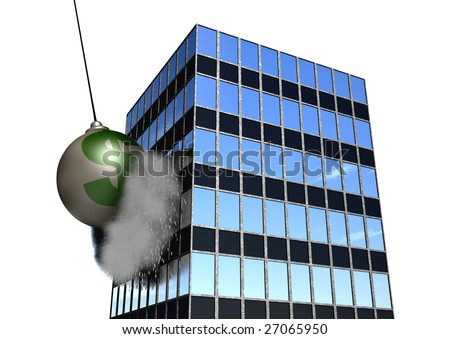 A giant wrecking ball destroying an office building! - stock photo