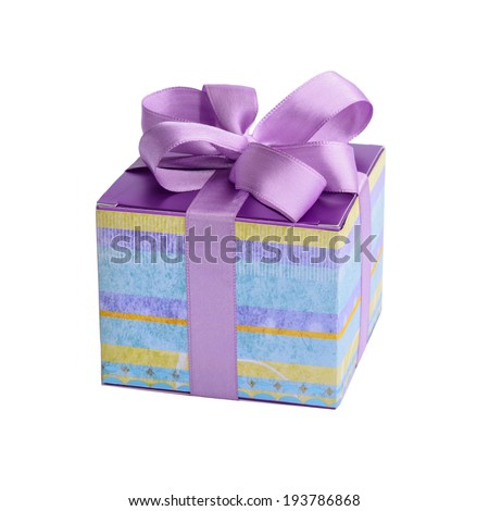 A gift box with purple satin bow isolated on white background - stock photo