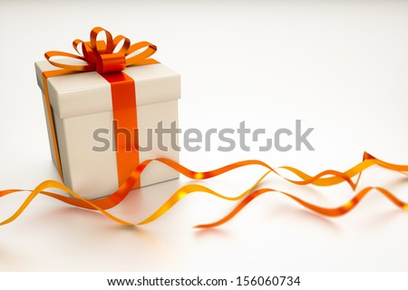 A gift box with red ribbon on a white background with space for your content - stock photo