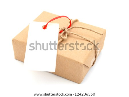A gift box with tag - stock photo
