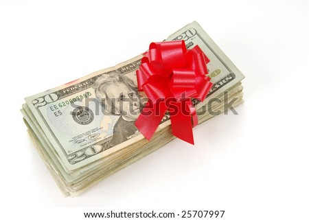 A gift of money tied in a red bow