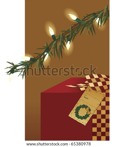 A gift with a country ribbon and folk art gift tag sits under a lit tree
