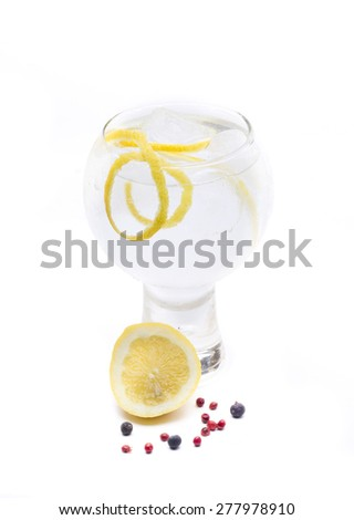 a gin and tonic, one of the most famous cocktales based gin - stock photo