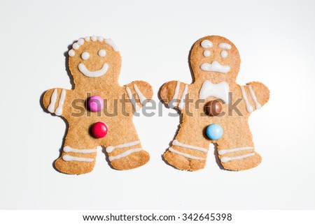 a Gingerbread couple, close-up