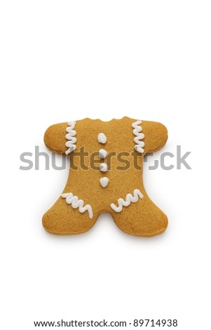 A gingerbread man cookie with his head bitten off - stock photo