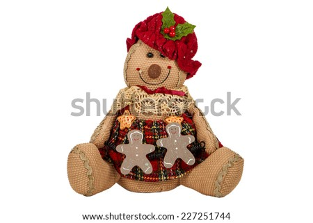 A gingerbread plush against  a white background