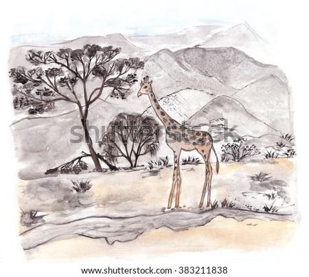 A giraffe, Kenya. Savannah view. Watercolor illustration. - stock photo
