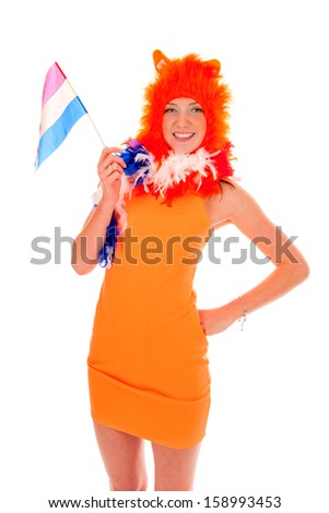 a girl, a supporter of the dutch soccer-team.