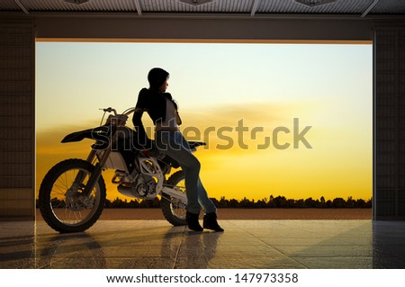 A girl and a motorcycle in the hangar. - stock photo