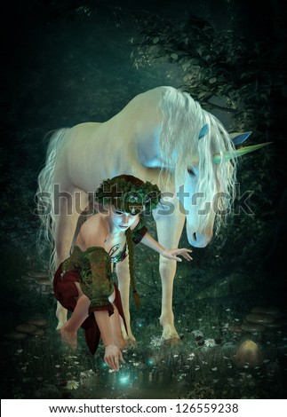 a girl and a unicorn watching fireflies at a pond - stock photo