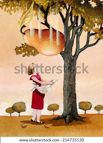 A girl collects the fruit that falls from a tree and sees a pear get huge and looks surprised - stock photo