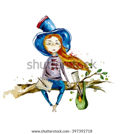 A girl in a big hat in the wind from the developing hair sitting on a tree branch. Watercolor illustration. Dreaming girl. Follow your dreams.  It can be used for printing / design greeting cards - stock photo