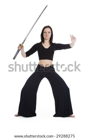 A girl in a black dress with a Japanese sword - stock photo
