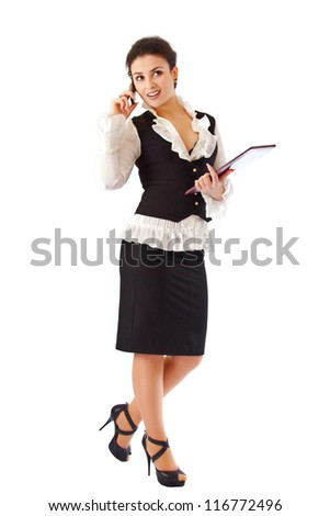 a Girl in a business suit with a folder