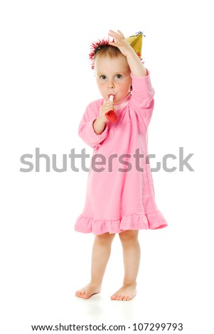 A girl in a pink dress and a hat on his birthday on a white background.
