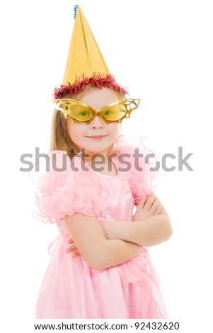 A girl in a pink dress with glasses and hat on white background.