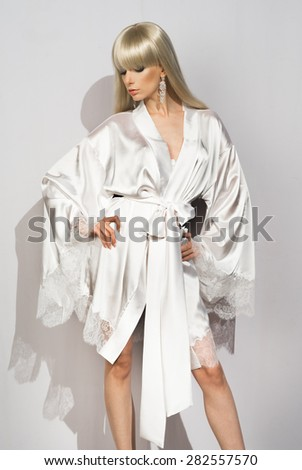 Girl Silk Dressing Gown Belt Stock Photo Royalty Free 282557570