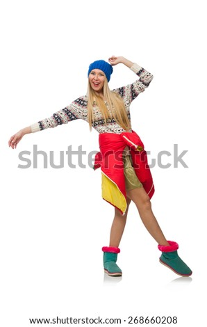 A girl in bright winter clothes isolated on white - stock photo