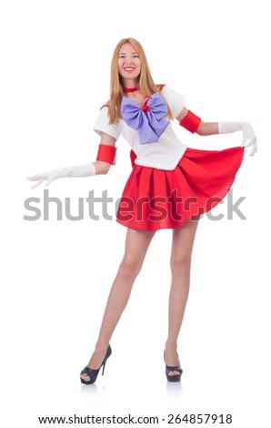 A girl in sailor moon suit isolated on white - stock photo