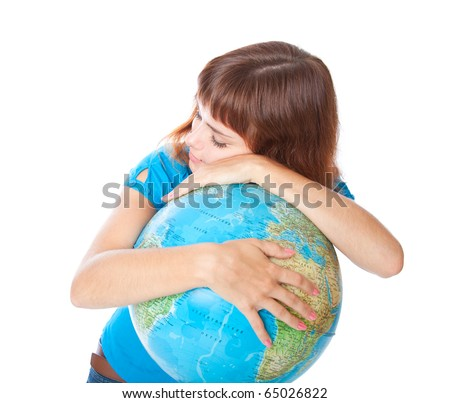 a girl is sleeping on the globe. isolated on white background - stock photo