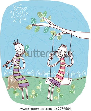 A girl on a swing and a boy playing a flute.