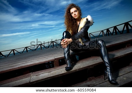 a girl on stairs - stock photo