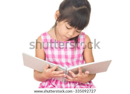 A girl reading a book, on the white background.